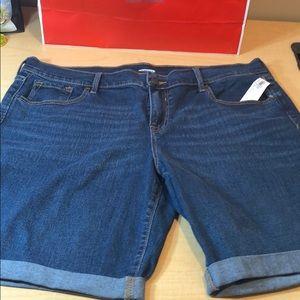 NWT old navy dark blue jean denim stretch shorts